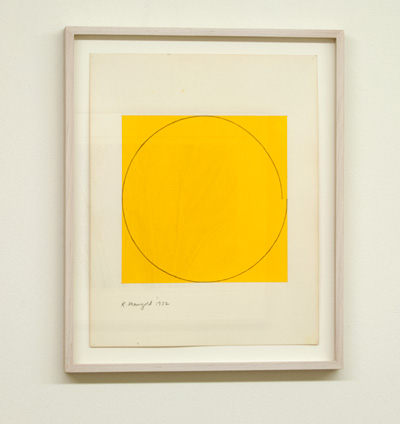 Robert Mangold / Robert Mangold Distorted circle within a yellow square  1972  35.6 x 28 cm   acrylic on paper