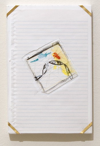Richard Tuttle / Indianapolis, 14  1994  25.4 x 16.8 x 1.9 cm archival paper, colored pencil, gouache, notebook paper, pencil, watercolor paper and artist's frame with gold hardware