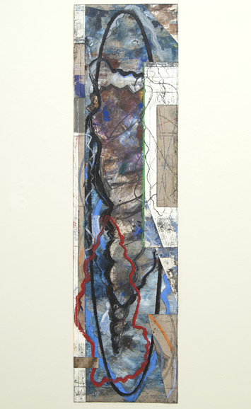 David Rabinowitch / Torrents Swept in an Instant  2010  187.6 x 46.6 cm acrylic, oil pastel, gesso, charcoal, collage on Belgian linen