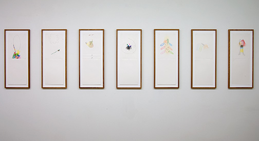 Richard Tuttle / Source  2012  7 parts, each 59.5 x 21 cm pencil, colored pencil and collage (grey cardboard) Verkauf nur als Werkgruppe
