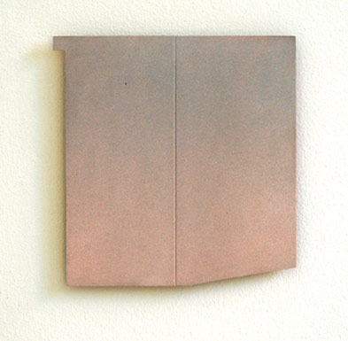 "Robert Mangold / Sketch for Pink Area  1965  24.4 x 24.4 cm 9.625 x 9.625 "" Paint on aluminim with plywood back"