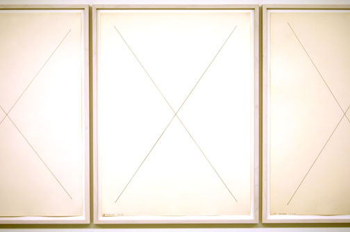 "Robert Mangold / 88"" X Perimeter Series  1969 three sheets, each 76 x 55.6 cm pencil on paper"