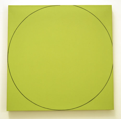 "Robert Mangold / Distorted Square / Circle II  1973  91 x 92 cm  /  36 x 36.75 "" acrylic and pencil on canvas"