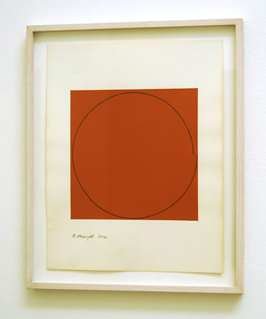 "Robert Mangold / Distorted circle within a orange square  1972  35.6 x 28 cm  /  14 x 11 "" acrylic on paper"