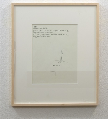 "Fred Sandback / Untitled  1974 20.6 x 30.5 cm  /  8 1/8 x 12 "" Felt tip pen on sketchbook paper FLS 0852"