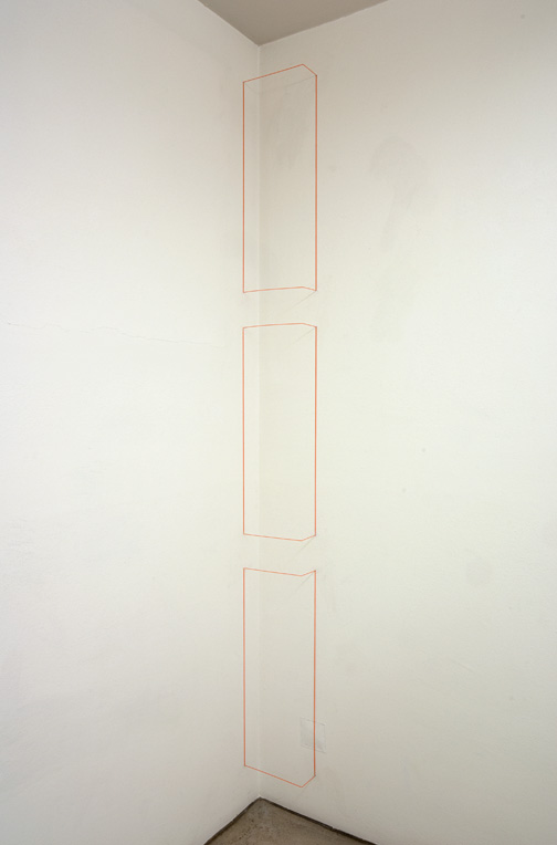 Fred Sandback / Untitled  1968 (RRR) 3-parts  Steel and elastic cord Fluorescent orange FLS#2026