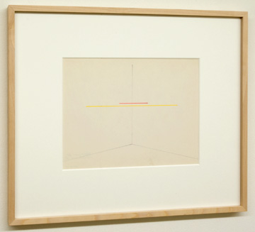 "Fred Sandback / Untitled  1972  22.9 x 30.5 cm  /  9.5 x 10.25 "" Red and yellow pencil on Strathmore Shelburne FLS 351"