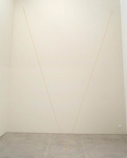 Fred Sandback / Untitled  1999  Dimensions variable Ochre acrylic yarn FLS#2157