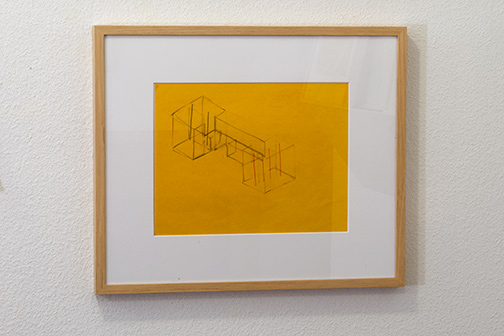 Fred Sandback / Untitled  2000  21.6 x 27.9 cm pastel pencil and pencil on yellow paper Annemarie Verna Galerie Neptunstrasse 42