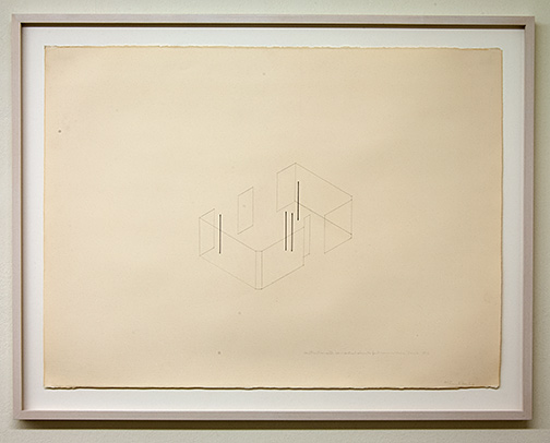 Fred Sandback / Construction with 4 Vertical Elements for Annemarie Verna Zürich  1976  56 x 76.5 cm pencil and ink on paper Annemarie Verna Gallery Mühlegasse 27