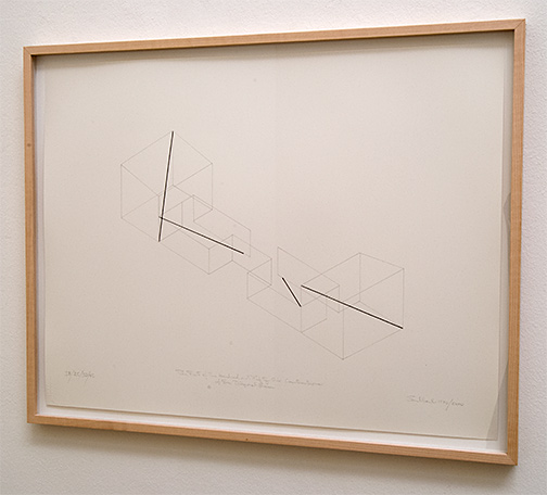 Fred Sandback / The First of 256 Constructions of Four Diagonal Lines  1970 / 2000  43 x 55.8 cm pencil and black ink on paper Annemarie Verna Galerie Neptunstrasse 42