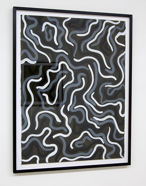 Sol LeWitt / Squiggly Brushstrokes  1997  76.2 x 57.2 cm   gouache on paper black and white