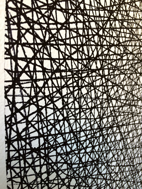 Sol LeWitt / 10'000 straight and 10'000 not straight lines within a four-meter circle  2005  black marker (Detail) Drawn by Nicolai Angelov