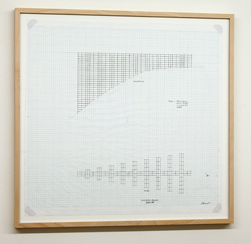 Sol LeWitt / Working Drawing for Concrete Block Structure (Swiss Re)  2000  61.2 x 63.5 cm pencil on checkered paper
