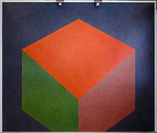 Sol LeWitt / Wall Drawing #524  1987 Tilted Form with color ink washes superimposed   water based acrylic Drawn by: Nicolai Angelov, 2013 Photo: Thomas Cugini, Zürich