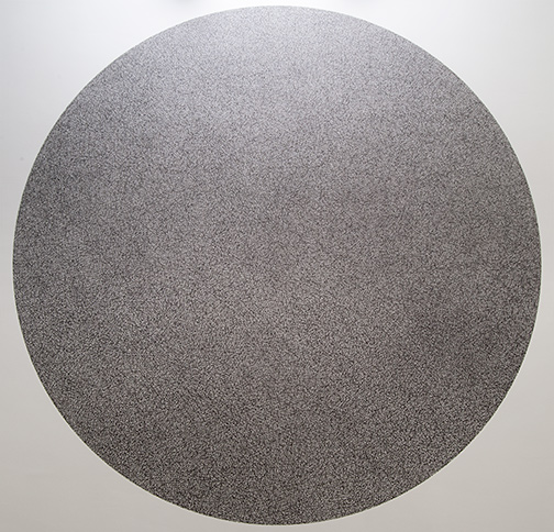 Sol LeWitt / Wall Drawing #1180  2005 10'000 straight and 10'000 not straight lines within a four-meter circle   black marker Drawn by: Nicolai Angelov, 2015