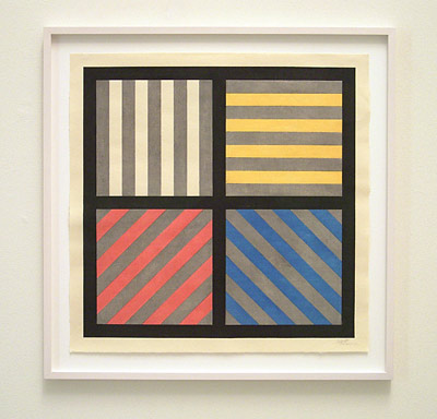 Sol LeWitt / Lines in four directions with alternating color and grey bands  1993 58.4 x 58.4 cm woodblock Ed.40 PP 2/2