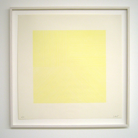 Sol LeWitt / Straight lines in four directions  1971 50.8 x 50.8 cm silkscreen (light yellow) Ex. 29/30