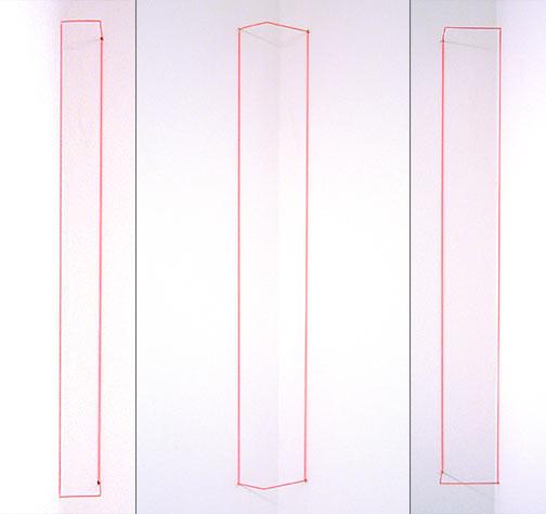 Fred Sandback / Orange Day-glo Corner Piece  1968 /2004 61 x 5.1 x 7.6 cm / 24 x 2 x 3 '' elastic cord