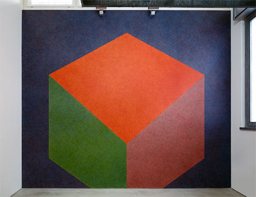 Sol LeWitt / Sol LeWitt Tilted Form with color ink washes superimposed  1987  Wall Drawing #524 Water based acrylic Drawn by Nicolai Angelov Photo: Thomas Cugini, Zürich