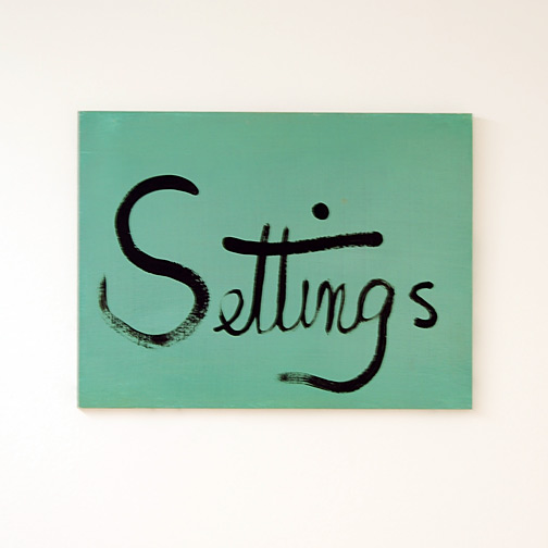 "Ree Morton / Ree Morton  Settings (Signs of Love)  1976 33 x 43 cm / 13.5 x 18"" oil on plywood"