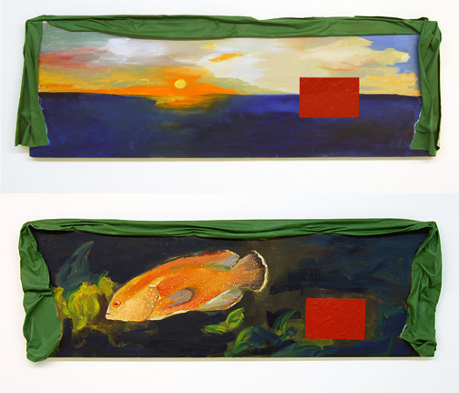 """Ree Morton / Ree Morton  Regional Piece  1975-76 42 x 127 cm / 17 x 50"""" oil and celastic on two wood panels"""