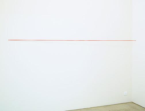 Fred Sandback / Fred Sandback  Untitled  1974 162.6 x 304.8 x 15.2 cm red acrylic yarn, untwisted, four strands