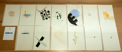 Richard Tuttle / They Came Apart  2011 13 drawings each 25.5 x 17.5 cm 1 drawing 10.7 x 14 cm Mixed media on paper